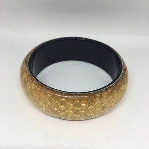 Golden hexagon bangle bracelet light weight